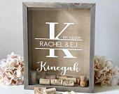 Wine Cork Holder Bridal Shower Gift Wedding Gift Guest Book Alternative Shadow Box Holds Corks, Photos, Messages more