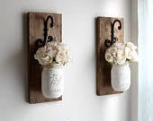 Fall Decorations Rustic Home Decor Wooden Wall Sconces Wall Farmhouse Decor Housewarming Gift Pair of Sconces with mason jars
