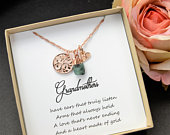 grandmother Grandma Birthstone Necklace Personalized gift for women Mothers Gift Family Tree Custom Name Necklace /Bracelet mom gift idea