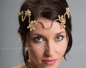 Rhinestone Bohemian Style Headpiece, Champagne Bridal Headband, Wedding Head Wrap Aspen