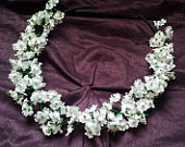 Babys Breath Flower Crown Headband White Boho Head Wreath Rustic Wedding Bridal Veil Floal Halo