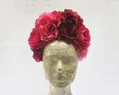 Red Pink Mexican Flower Crown, Burgundy Red, Day of the Dead Headpiece, Frida, Kahlo, Huipil, Boho Headband, Corona de Flores, Costume