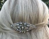 Vintage Oval Shape Crystal Rhinestone Pearl Bridal Hair Comb Hair Accessories Wedding Tiara Lace Curves Filigree Comb Ivory White Pearls
