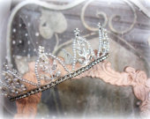 vintage tiara crown pearls and rhinestones mid century rhinestone tiara wedding tiara princess bride vintage wedding glamour beauty