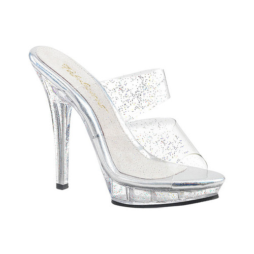 Women's Fabulicious Lip 102MMG Double-Band Slide, Size: 7 M, Clear PVC/Clear