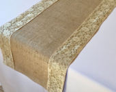 Burlap And Lace Table Runner Gold Lace Select A Size More Colors Available
