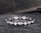 Art Deco Wedding Band Woman White Gold Diamond Eternity Band Stacking Ring Antique Jewelry Delicate Bridal Promise Dainty Anniversary Gift