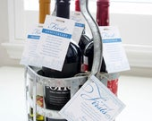 A Year of Firsts Milestone Wine Basket Personalized Printed Tags (Blue Lace) Wedding Gift, Bridal Shower Gift, Couples Shower Gift
