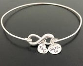 Sterling Silver Bride Bracelet Gift Infinity Bracelet with Charms Wedding Date Initials Bride Gift From Mother Father Mom Dad to Daughter