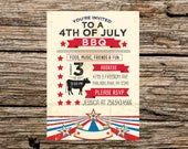 4th of July Independence Day Summer Cookout BBQ Grill Party Invitation Patriotic Red White and Blue DIGITAL DOWNLOAD