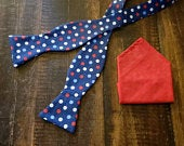 Free Shipping Handcrafted Fabric Self Tie Freestyle Bow Tie in a Patriotic Red, White, and Blue Polka Dot Print with Red Pocket Square
