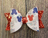 Red Mouse Ears Mouse Ear Hair Clips Disney Headband Blue Mouse Ears Mouse Ears Fourth of July Ears Piggy Hair Clips 4th of July