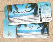 Boarding Pass Invites in Aqua, Wedding Beach Save the Dates, Turquoise Ocean Colors