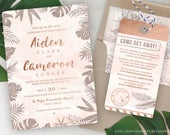 Destination Wedding Invitation Tropical Invitation Set in Rose Gold and Blush Watercolor by Luckyladypaper