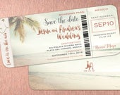 Rose Gold Boarding Pass Save the Dates Travel Destination Weddings Invitations Mexico Punta Cana Jamaica