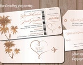 Rose Gold Shimmer Boarding Pass Invitations with Reply Luggage Tags, Destination Wedding Mexico Punta Cana Jamaica Caribbean