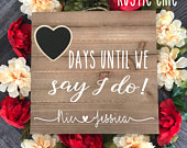 Engagement Gifts For Couple, Days Until We Say I Do, Wedding Countdown Chalkboard Sign, Engagement Gift For Her, Wooden Wedding Sign