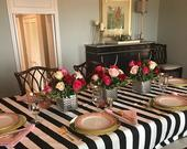 Black and white stripe tablecloth, Weddings,Graduations,receptions,Birthdays