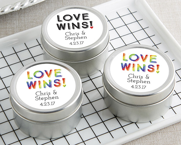 Personalized Love Wins Candle Favor Tins