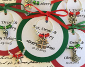 100200 Custom Christmas Wine Charm Favors Weddings, Bridal Shower, Rehearsal Dinner, Anniversary, Holiday Party or Dinner Party