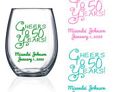 Set of 24 50th Birthday Favors Stemless Wine Glass Cheers to 50 Years birthday Wine glass Party Favors Stemless Wine Glass FiftySD2