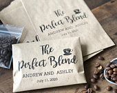 Coffee Favor Bags Wedding Favors Bridal Shower Coffee Favors Coffee Bean Espresso Favors Set of 25 custom paper bags The Perfect Blend