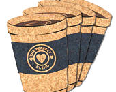 Wedding Favor Coasters, The Perfect Blend Coffee Cup Cork Coaster Set of 4
