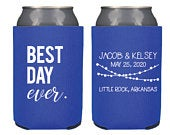 Wedding Can Cooler Custom Best Day Ever Can Coolers, Personalized Can Holders, Personalized Coozies Cheers, Wedding party favor KWE22