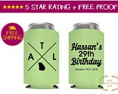Personalized Can Cooler, Birthday Can Coolers, 30th Birthday, Party Can coolers, Custom Can Coolers, Beer Cooler