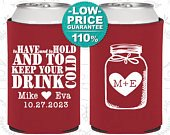 Wedding Favor Can Coolers, To Have and To Hold, Wedding Can Coolers, Personalized Can Cooler, Custom Can Coolers, Beer Can Cooler (C428)
