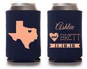 Custom Wedding Can Cooler, Wedding Favor Any State with Heart