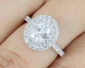 2ct Oval Cut Double Halo 925 Sterling Silver Zircon Diamond Simulant Promise Birthday CZ Engagement Ring Wedding Band Women Size 315 MLH3