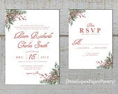 Elegant Christmas Wedding Invitation,Evergreen Branches,Red Winter Berries,Shimmery,Traditional,Custom,Printed Invitation,or Set,Opt RSVP