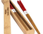 Engraved Fine Dining Twisted Red Chinese Bamboo Chopsticks Pair Box Custom Personalized Gifts Wedding Favors: Anniversary, Bride, Groom