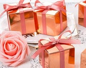 Metallic Rose Gold Favor Boxes. Wedding. Candy Boxes. Small Treat Boxes. Baby Shower. Birthday Party. Square Boxes. Candy buffet. 2x2x2