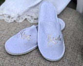 Bridal Party Slippers Bride Slippers Wedding Day Slippers Custom Bridal Party Slippers Bride Gift
