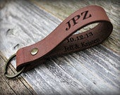 Personalized Leather Key Fob Leather Keychain Custom Text Dad Gift Custom Keychain Personalized Gift Husband Gift Anniversary