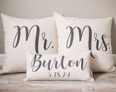 Mr and Mrs Pillow Sets 3 Wedding Pillows Set Custom Monogrammed Pillow Sets Pillows with Mr and Mrs Last Name Established Date