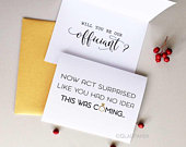 Officiant Proposal, officiant card, Funny officiant card, Ask Officiant, Now Act Surprised Funny bridesmaid proposal wedding card GOLD