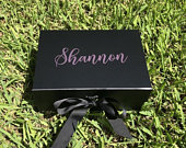 Black Luxury Proposal Box Bridesmaid Proposal Box Bridesmaid Gift Personalized Bridesmaid Gift Maid of Honor Gift Keepsake Box Hostess gift