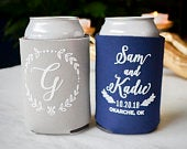 Rustic Wedding Can Coolers, Custom Can Coolies, Personalized Beer Huggers, Wedding Reception, Engagement Party Decor, Bachelorette Weekend