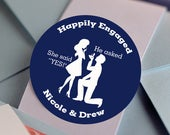 Glossy Round Labels Engagement Party Decor Engagement Announcement Engagement Favors Happily Engaged Thank You Stickers