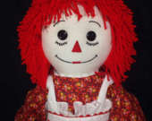 30 Inch RAGGEDY ANN Doll, Handmade, Red Hair, Red Floral Print Dress with embroidered apron and rickrack trim on the waistband