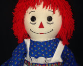 30 Inch RAGGEDY ANN Doll, Handmade, Red Hair,Blue Floral Calico print dress With Embroidered Apron and Optional Personalization