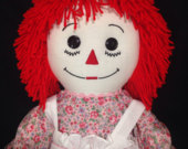 30 Inch RAGGEDY ANN Doll, Handmade, Red Hair, Pink Floral Calico Dress With Embroidered Apron and Optional Personalization