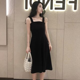 Square-Neck Sleeveless A-Line Dress