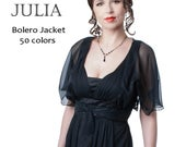 Silk Chiffon Bolero Jacket with Butterfly Cape Sleeves. Collection JULIA /34 colors/ Sizes SXL