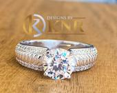 Beautiful 14K Solid White Gold Round Cut Simulated Diamonds Engagement Ring Set Prong And pave Set Wedding Bridal 1.75ctw