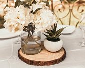 Set of 20 10 inch wood slabs, wood slab centerpieces, tree slices, tree slice centerpieces, tree slabs, tree slab centerpieces!