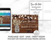 Rustic Save the Date, Editable Save the Date Template, Printable Save the Date, Save Our Date, Babies Breath Mason Jar, DIY Instant Download